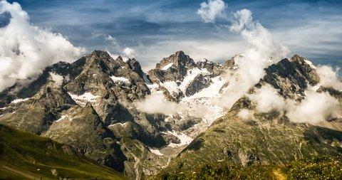 4K, Time Lapse, Cloud Formation At Col Du Lautaret, France - Neutral Version