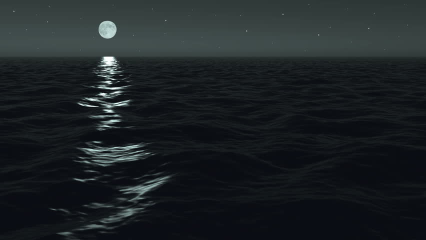 Photo-real rendering of a night ocean scene with moving ocean surface. Seamlessly loops.