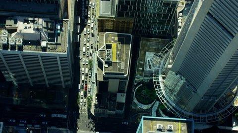 Aerial city Skyscraper vertical view of Sydney Australia