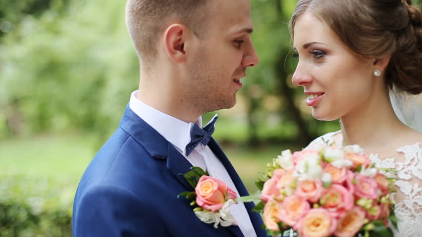 Dinner Party Video Part - 37: Happy Sensual Handsome Groom And Blonde Beautiful Bride In White Dress  Hugging Close-up -