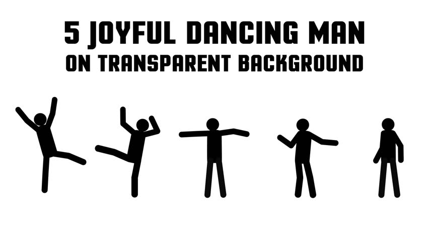 Animated pictogram man happy dancing, rejoicing. 5 consecutive circular movements on a transparent background.
