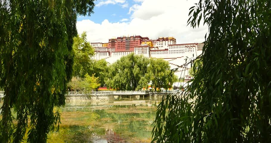 4k Potala reflection on lake in Lhasa park,Tibet.lake with willow. gh2_09778_4k
