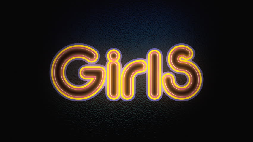 A flickering neon sign over a wall, with the text Girls. Flat style.
