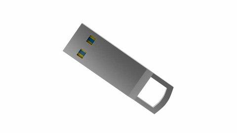 Capless flash drive rotates on white background