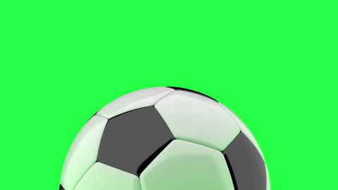 Soccer ball drop and jumping on a chroma key green background.  Can be used in advertising and on television.