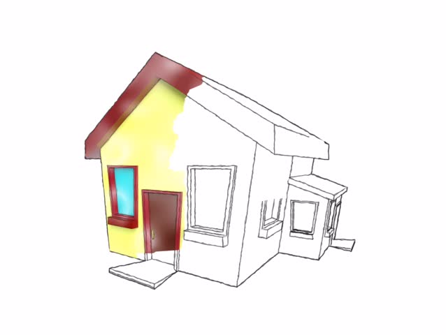 3d house for presentation, from sketch to 3d rotation. - HD stock video clip