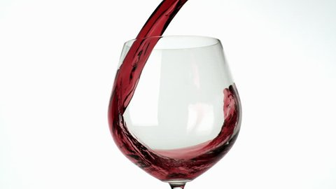 Slo-motion wine poured into glass