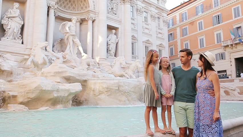 family near fontana di trevi  stock footage video  100