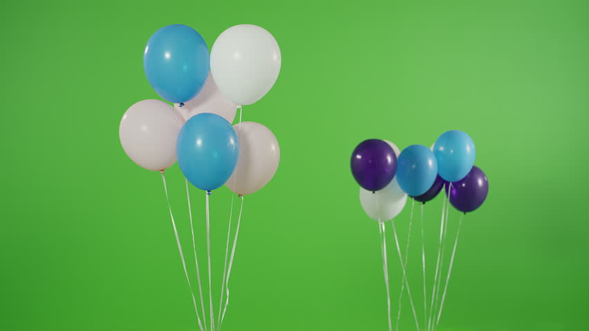 4K Many helium balloons rise up on green screen. Shot on RED EPIC Cinema Camera. #18803498