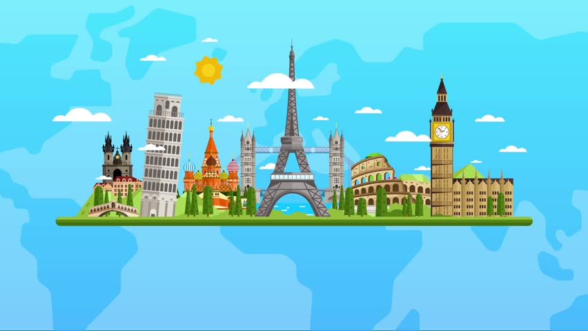 World map europe travel tour illustration animation vacation welcome to europe travel on the world concept traveling icon background video animation gumiabroncs Choice Image