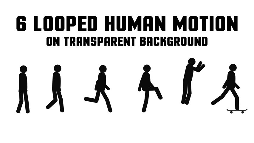 Animated pictogram man. Set of 6 looped successive movements: fast and slow walking, running, slinking walking, jumping, riding on a skateboard. Transparent background.