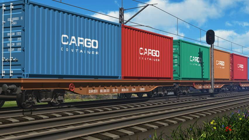 Freight train with cargo containers passing by