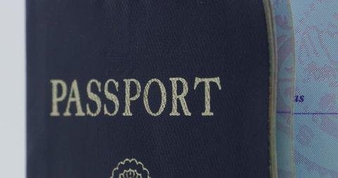 USA Passport Blue Spinning Isolated on White Close Up 10bit, 4K