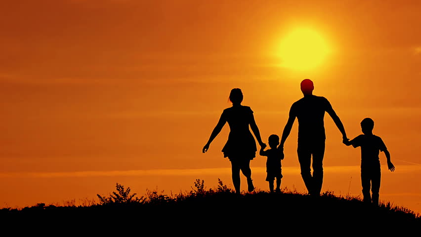 Family Wallpaper Quote Hd Wish: Silhouettes Of Happy Family Running Stock Footage Video