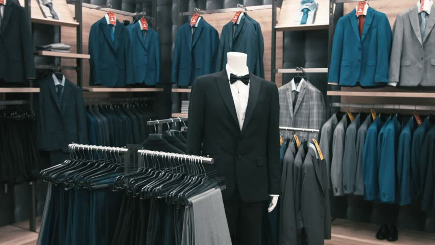 Interior Of Men's Clothing Store. Men's Suits. Men's Shirts ...