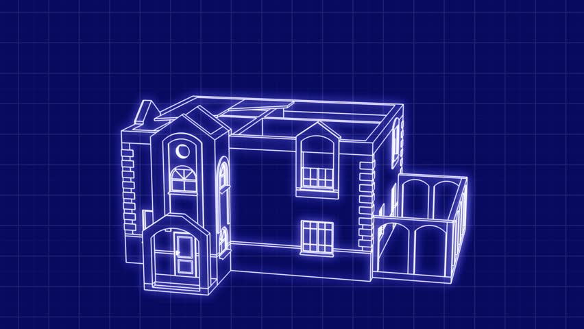 Timelapse of construction of the house. 3D animation of the construction of the building. The contours of houses on a blue drawing