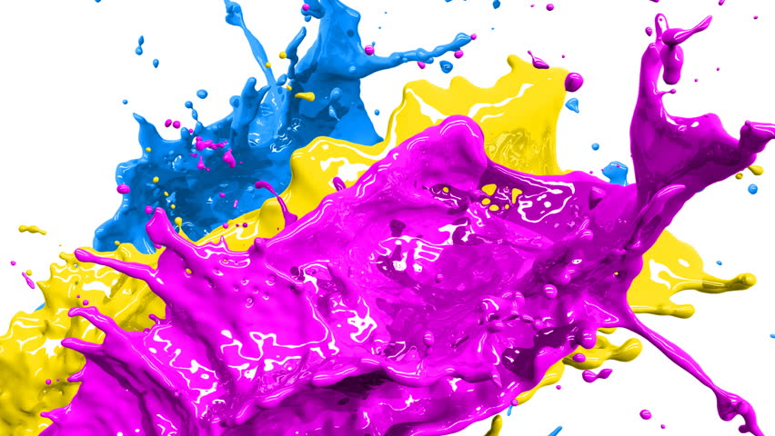 Colored paint splashes in slow motion and freeze motion HD.  | Shutterstock HD Video #1897411