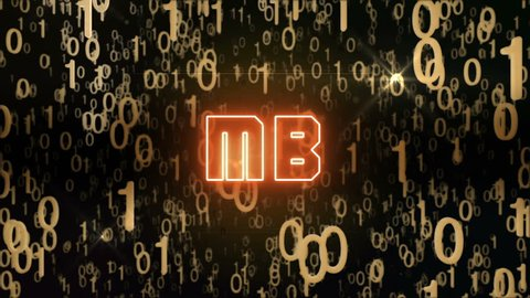 Seamless looping animation with the word MB composed into falling golden binary code