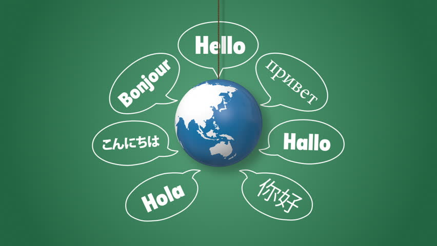 Saying Hello In Different Languages Around Orbiting Globe Stock - Languages on earth