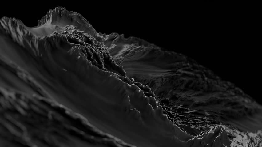CG Fractal abstract background animation with depth of field. Seamless loop. Black and white.