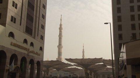 Tilt down to Medina street market outside Prophet's Mosque,Medina, Saudi Arabia, October 2013