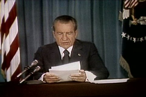 President Richard Nixon discusses the uninhibited discussion on Watergate tapes in at the release of the Watergate tapes in the 1970s. (1970s)