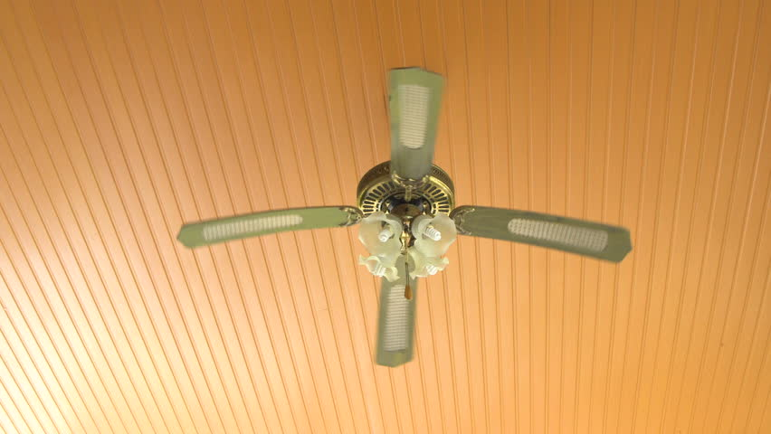 Ceiling Fan Made Of Wood In Thailand Stock Footage