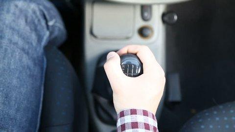Shifting Gear Stick in Manual Car, Close Up