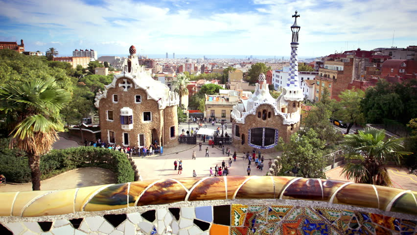Timelapse of Parc Guell, Barcelona, Spain