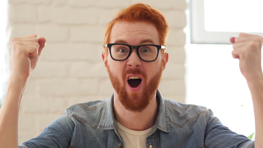 Reaction of Win, Success by Excited Man with Beard and Red Hairs, Portrait | Shutterstock HD Video #19155223