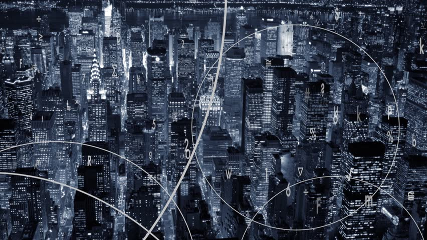 Digital data flow stream animation connected with cityscape. virtual communication networking concept background     Shutterstock HD Video #19192639