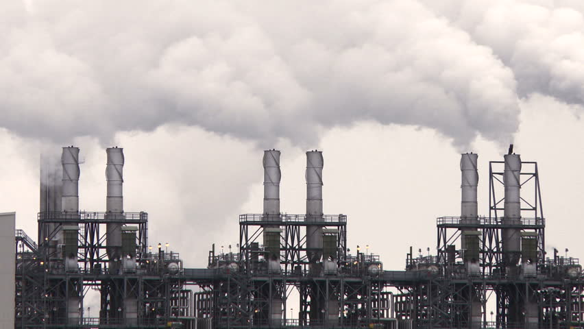 stock video clip of smoke stacks of petroleum and petro
