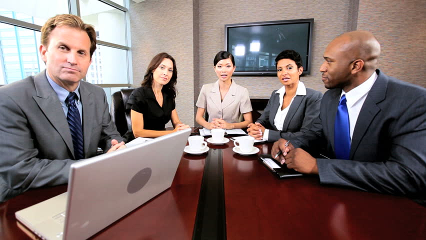 Multi ethnic business people in video conference meeting