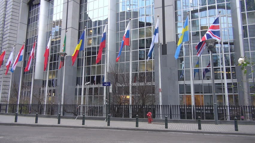 Flags at European Parliament, Brussels, Belgium