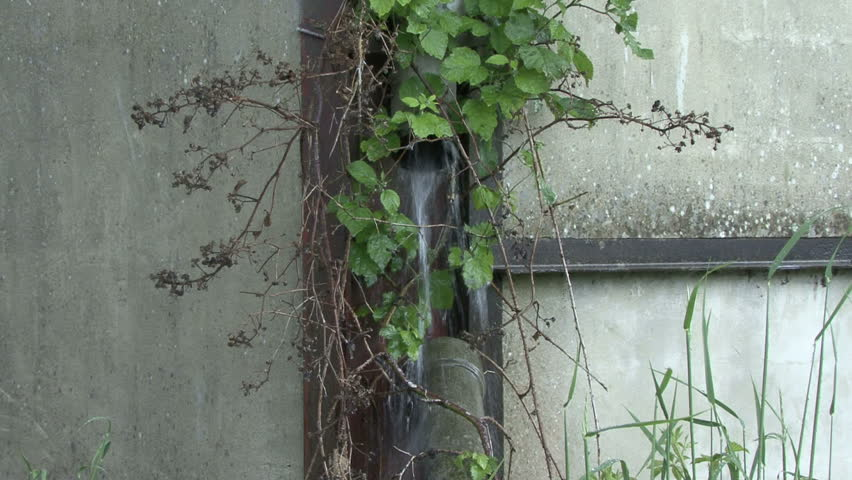 Rainwater leaking from broken drainpipe 4. HD.