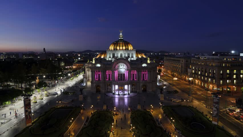 MEXICO-CITY, MEXICO - OCTOBER 21, 2015: Bellas Artes aerial view timelapse at night.