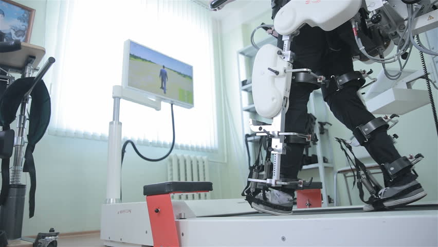 Medical walking robot. Rehabilitation, rehab, remediation for people with feet disease.   Shutterstock HD Video #19304152