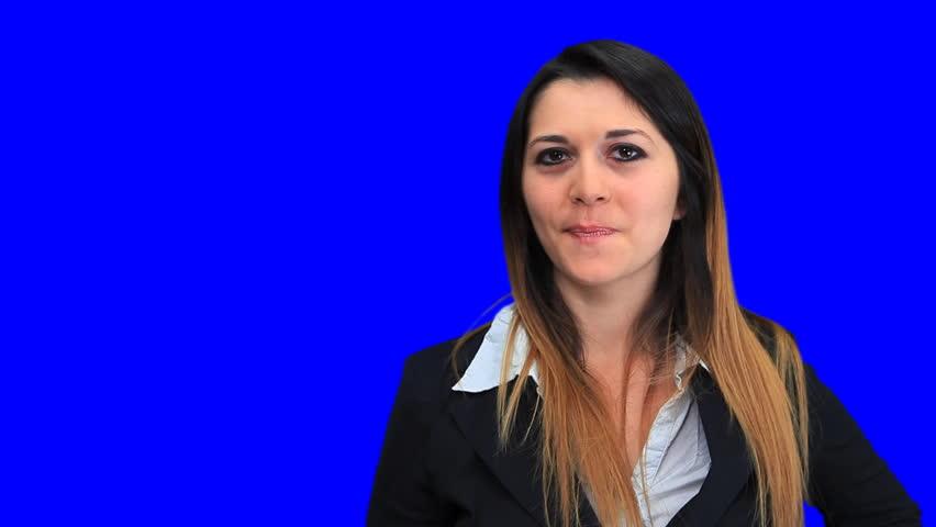 Blue screen beautiful business woman girl concept sign up down good bad   Shutterstock HD Video #1932358