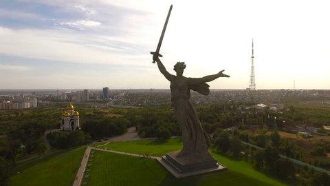 Volgograd. Historical Memorial Complex Mamayev Kurgan Sculpture The Motherland Calls. Aerial View
