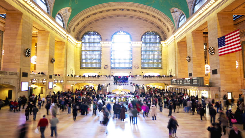 Grand Central Station in New York City time lapse with blurred people
