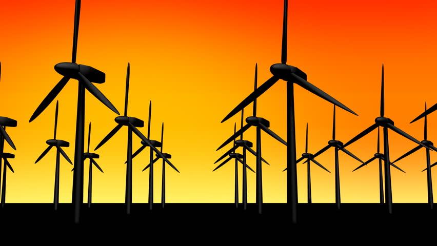 Windmills over a warm sky backdrop.