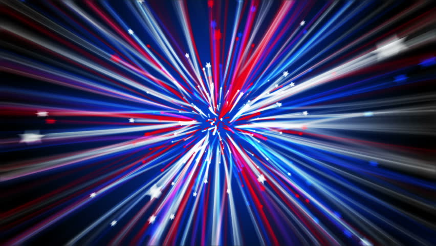 A great 4th of July loopable background made up of red, white and blue shooting stars that are leaving colored trails as they fly past the camera.