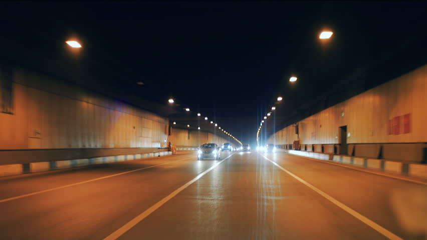 Automobile tunnel at night on which cars go | Shutterstock HD Video #19398289