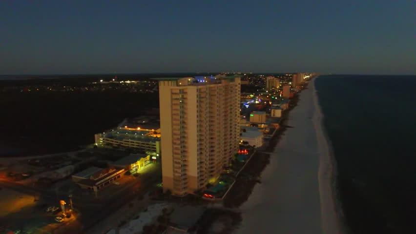 Panama City Beach At Night Aerial View Of Florida Coastline