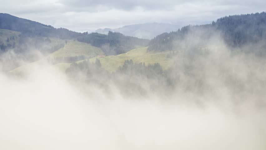 Timelapse of morning fog rolling through vallery, green forest, mountains. | Shutterstock HD Video #19428430