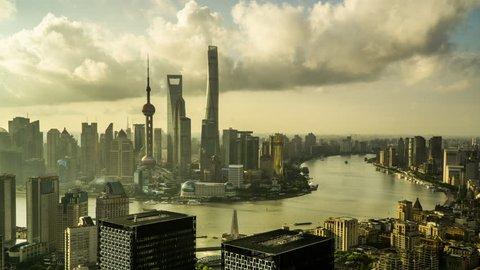 Shanghai,China-Aug 8,2016: Timelapse and bird's view of landmark in Shanghai at sunset, China