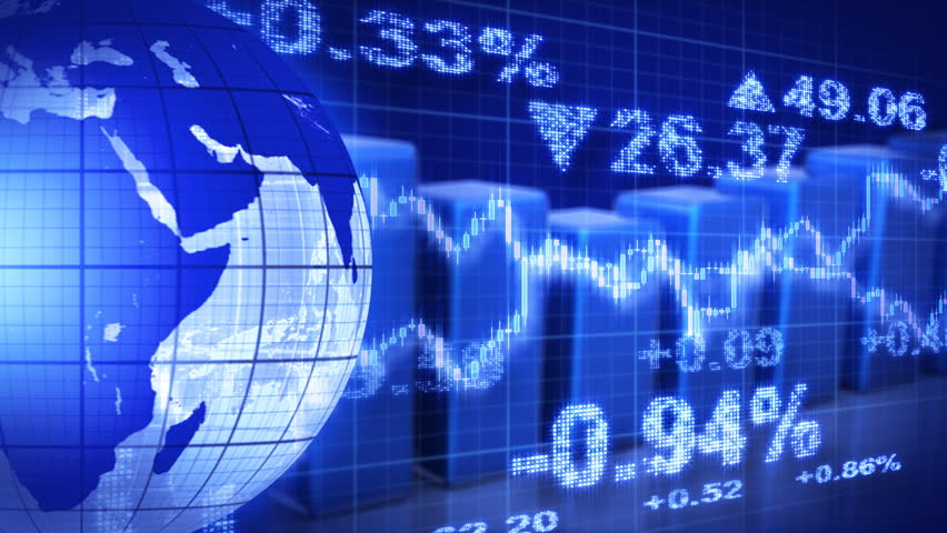 Globe and graphs blue stock market loopable background | Shutterstock HD Video #1947439