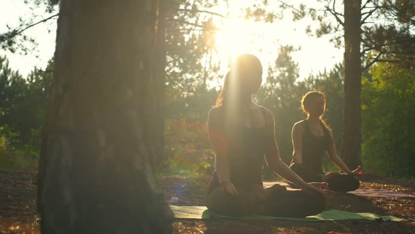 Girls meditating practicing yoga at sunset in forest Padmasana Slow motion