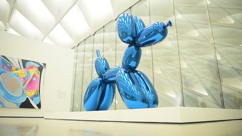LOS ANGELES, CA - September 1, 2016: Balloon Dog by Jeff Koons at The Broad Contemporary Art Museum on September 1, 2016 in Los Angeles, California, USA.