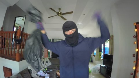 Funny Thief Dancing in Front Of Camera in Robbed House